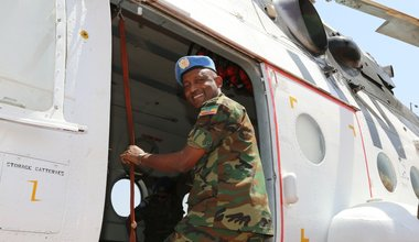 UNISFA Force Commander as he boarded the helicopter on his way back to Abyei from Diffra after meeting the Misseriya leaders on 12 February 2017.