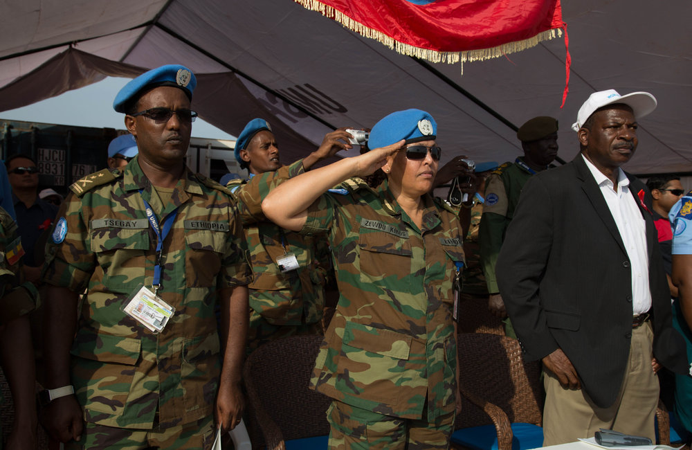 The Special Guest of Honor Acting Force Commander and Head of Mission (A/FC and HoM) Brig Gen Zewdu Gebrekidan led the ceremony's guests including OIC Principal Officer Daniel Adekera, Liaison Officer Brig General Belay Seyoum.