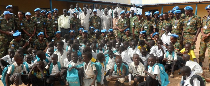 Students of Abyei Secondary School with UNISFA troops.